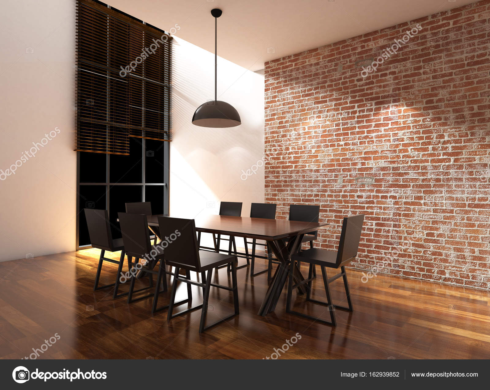 Blanco y ladrillo pared comedor 3d ilustración — Foto de stock ...