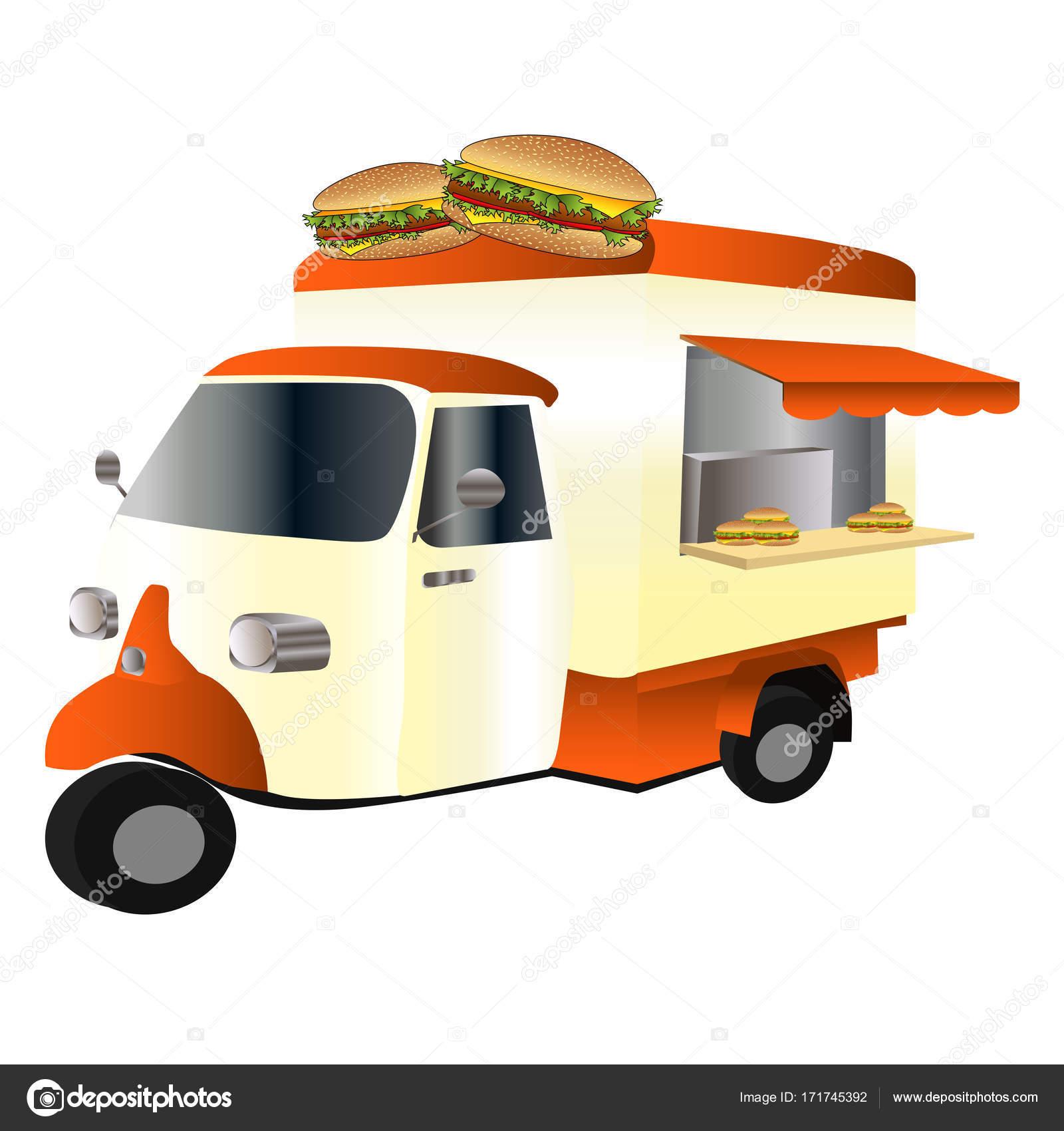 Vintage Car Fast Food Truck Hamburger Stock Vector