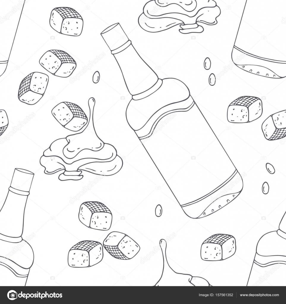 Mano dibuja contorno de patrones sin fisuras con caramelo de bourbon ...