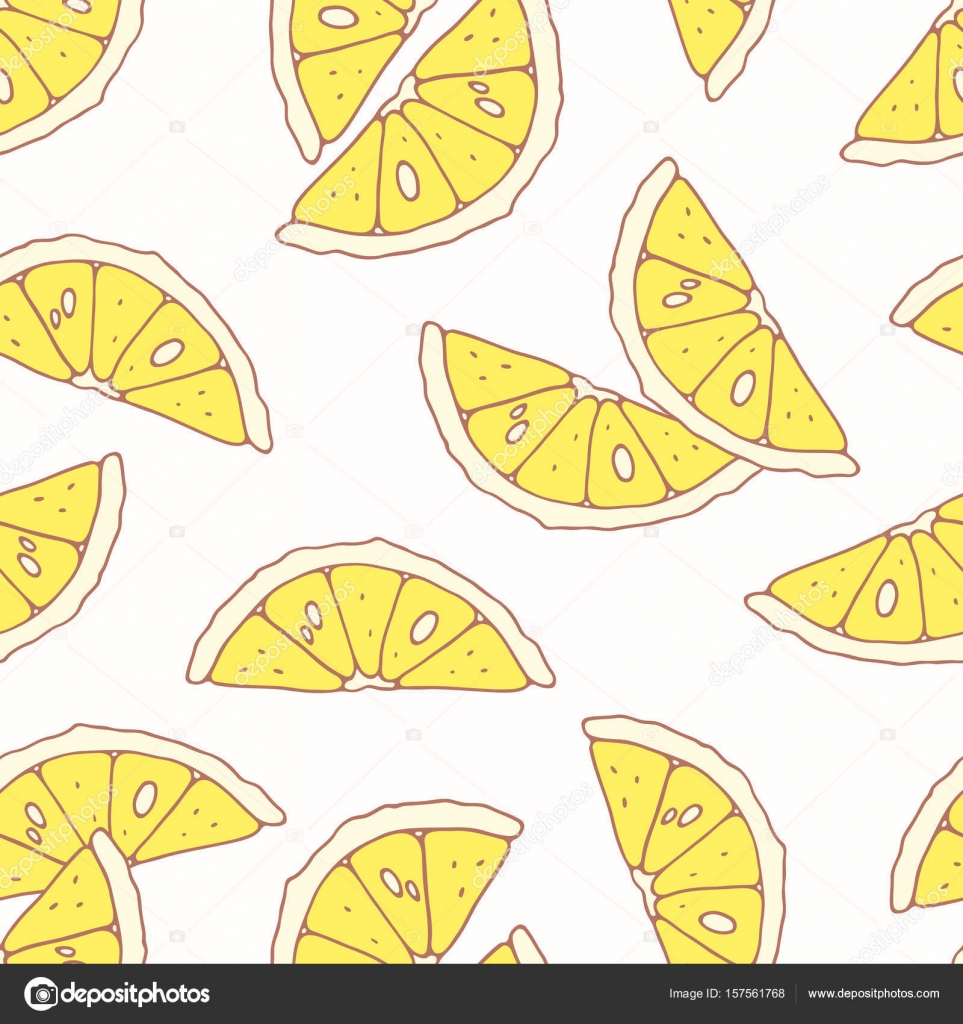 Hand drawn seamless pattern with lemon. Background for cafe, kitchen ...