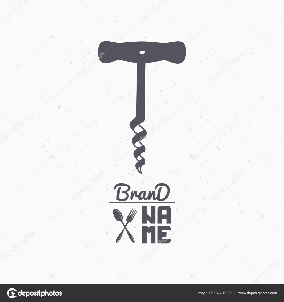 Hand Drawn Silhouette Of Corkscrew Liquor Store Logo Template For Craft Food Packaging Or Brand