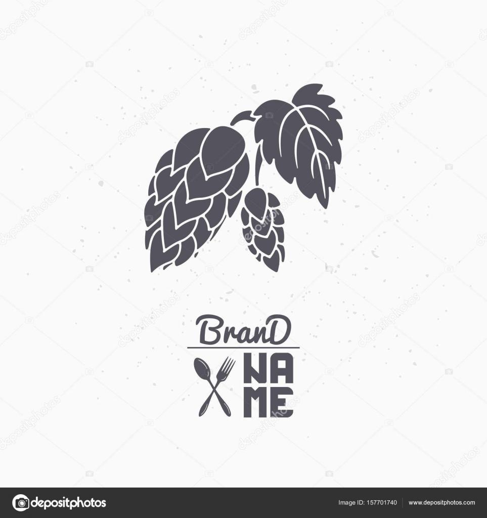 Hand gezeichnete Silhouette des Hop-Zweig. Brauerei-Logo Vorlage für ...