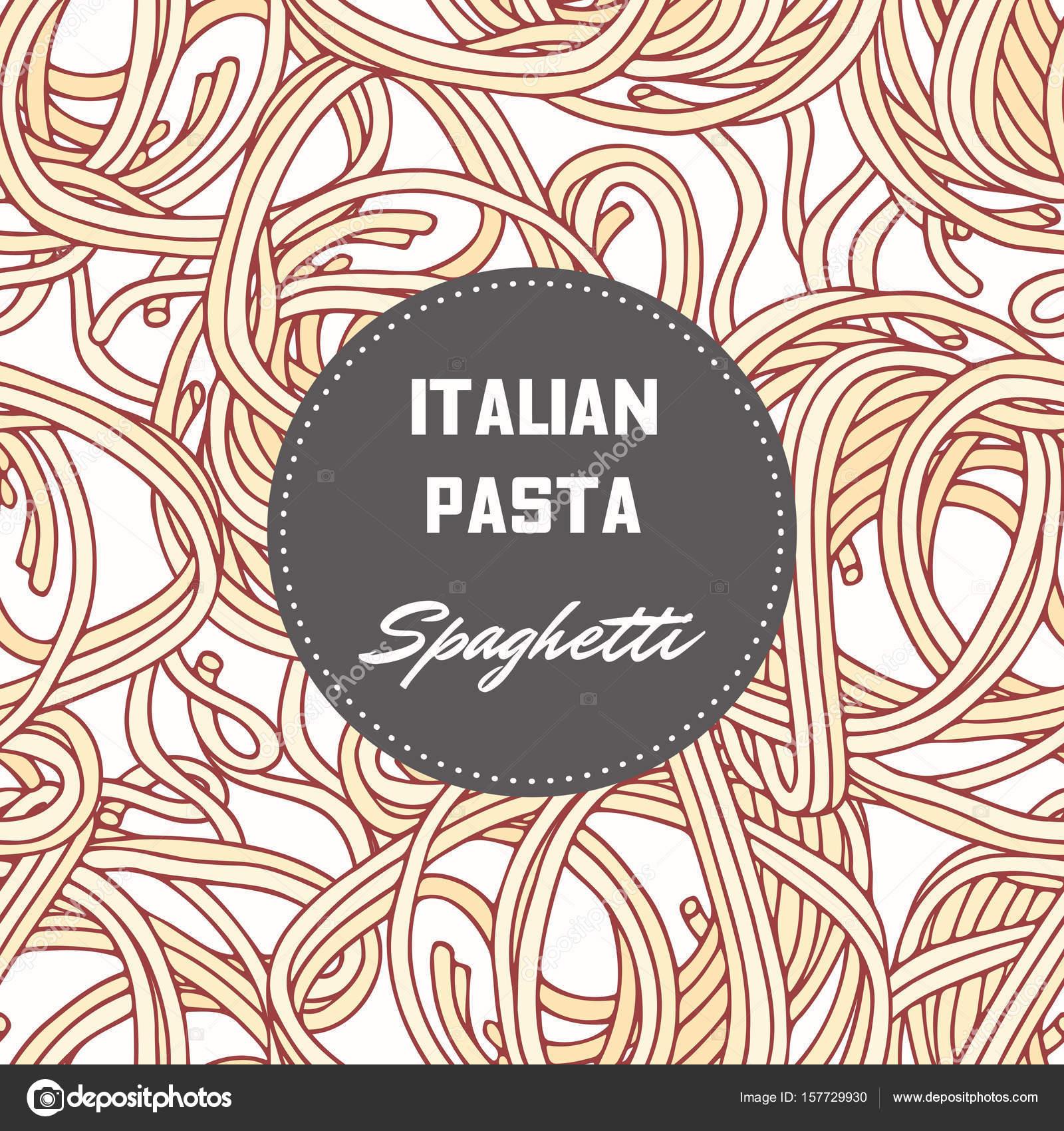 Hand gezeichnete Muster mit Pasta Spaghetti. Hintergrund für die ...