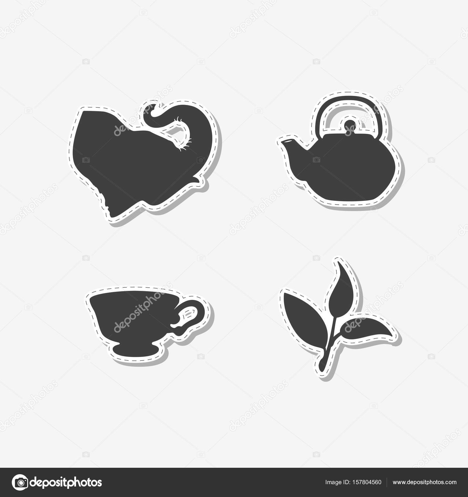 Set of hand drawn stickers with elephant, teapot, tea leaf and cup ...