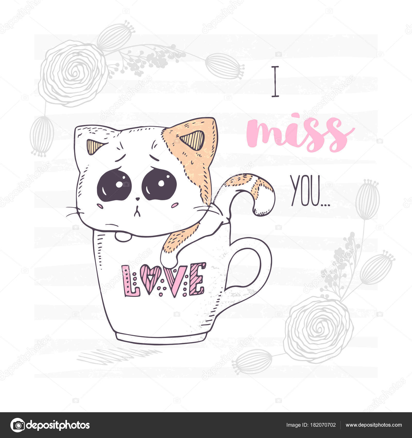 Cute And Sad Hand Drawn Kitten In A Cup With Love Letters