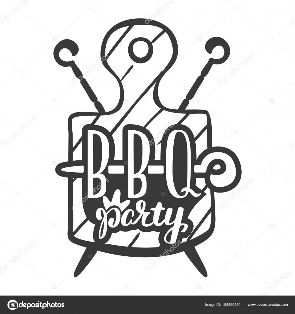 Barbecue party label, logo and emblem vector templates isolated on ...