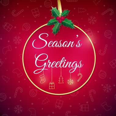 Seasons greetings. Holiday background. Xmas greeting card with bauble. Poster.