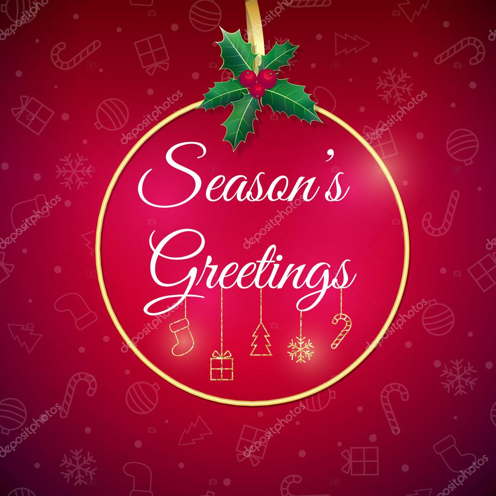 Seasons greetings stock vectors royalty free seasons greetings seasons greetings holiday background xmas greeting card with bauble poster royalty free kristyandbryce Image collections