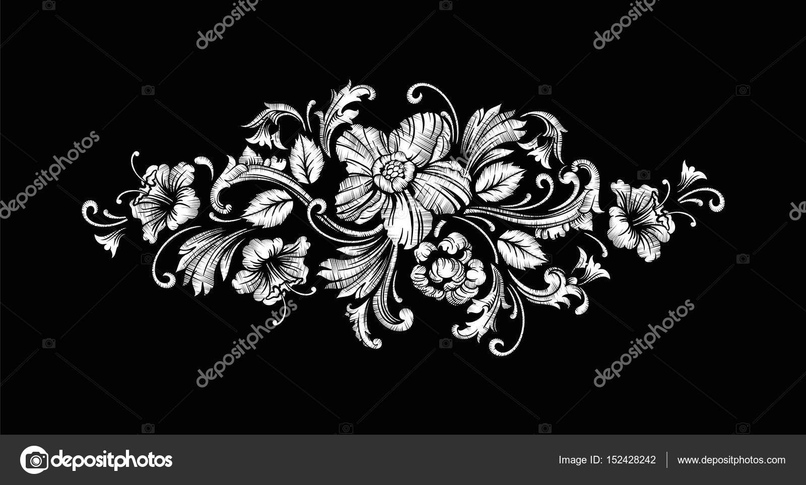 Embroidery Design in Baroque Style. Vector — Stock Vector ...