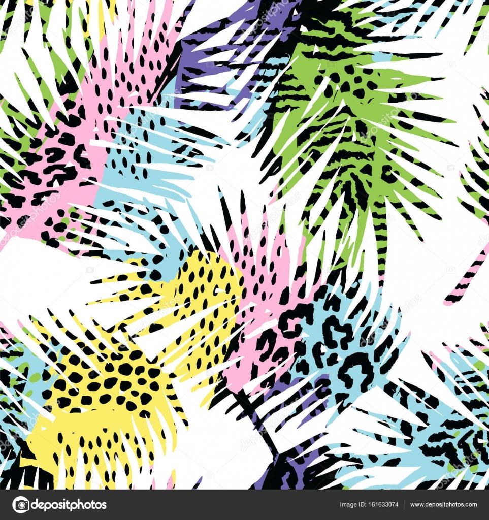 586671c196 Moda patrones exóticos sin fisuras con la palma