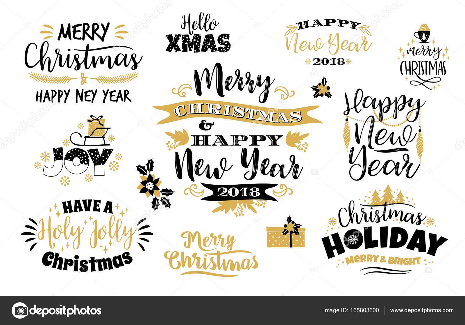 Satz von Weihnachten und Happy New Year Schriftzug Entwürfe ...