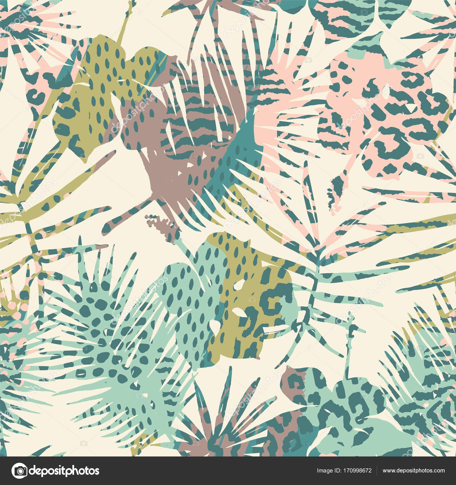12efe6c663 Moda patrones exóticos sin fisuras con Palma y animal prins — Archivo  Imágenes Vectoriales