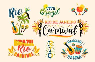 Brazilian Carnival. Big set of vector emblems.