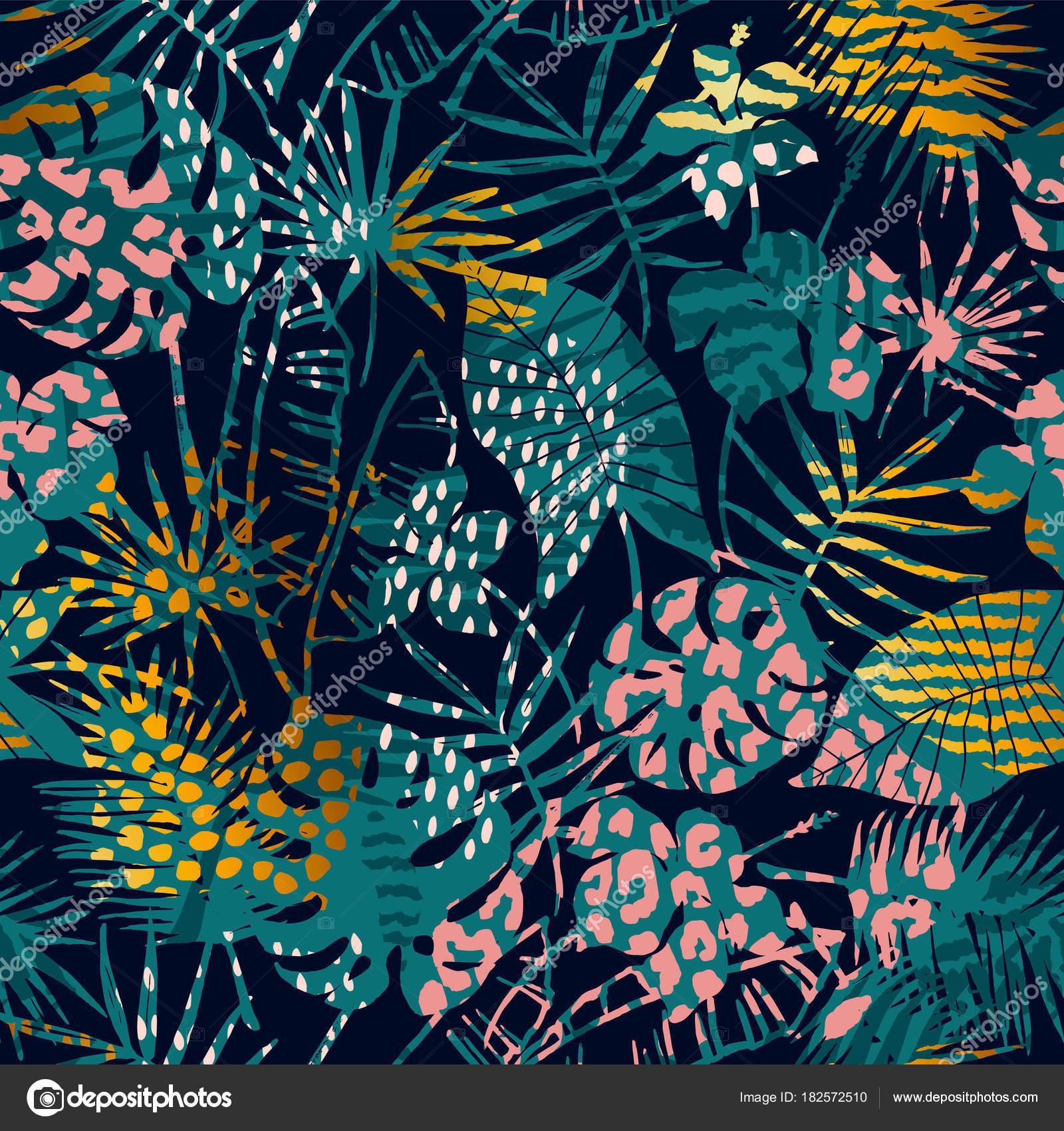 Moda patrones exóticos sin fisuras con la palma, animales estampados ...