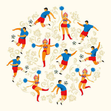Soccer players and cheerleaders girls in Russian style. Flat vector illustration.