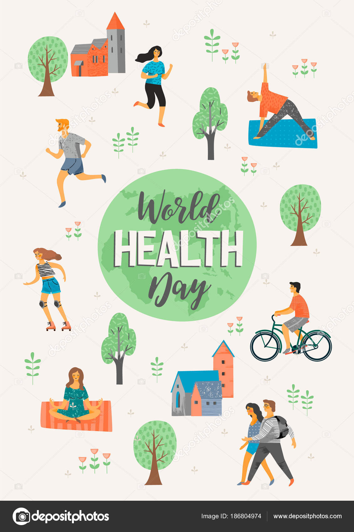 2a7e2ac01b69 World Health Day. Healthy lifestyle. — Stock Vector © Nadezda_Grapes ...