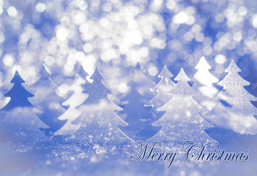 Christmas card for greetings stylized fir on snow in shades of blue christmas card for greetings stylized fir on snow in shades of blue with the words merry christmas photo by ppicasso m4hsunfo