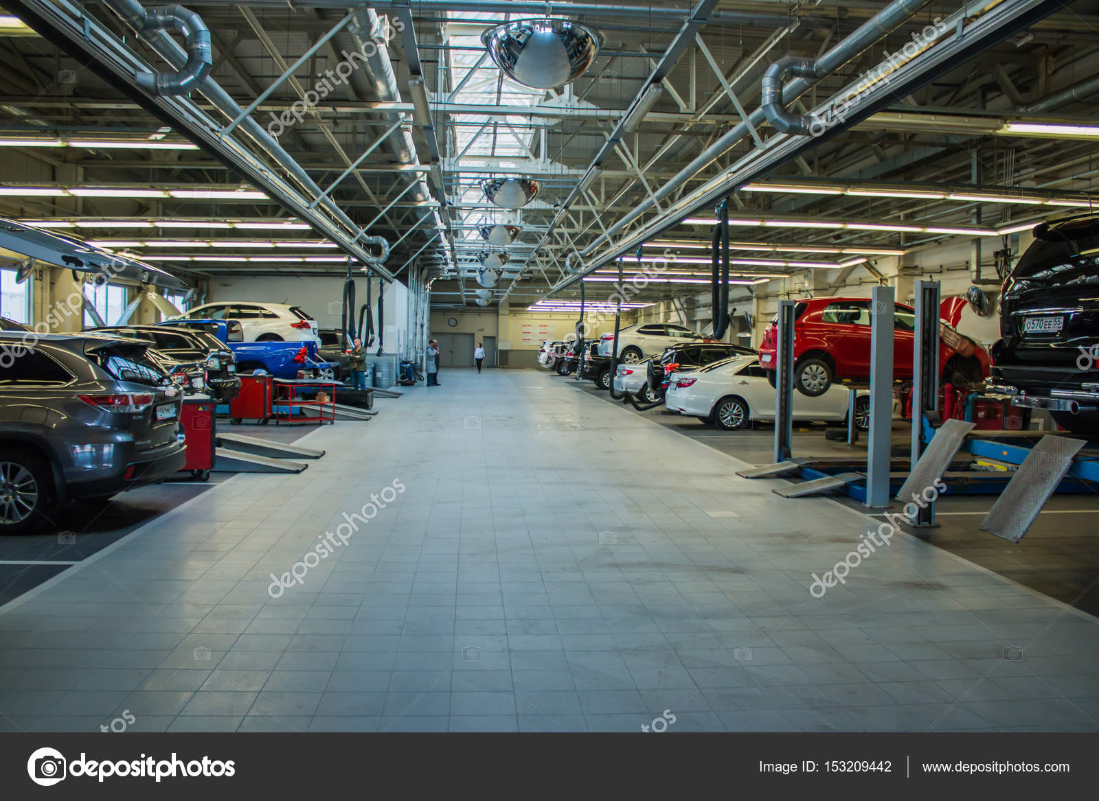 huge garage for car repair with equipment stock editorial photo ppicasso 153209442. Black Bedroom Furniture Sets. Home Design Ideas