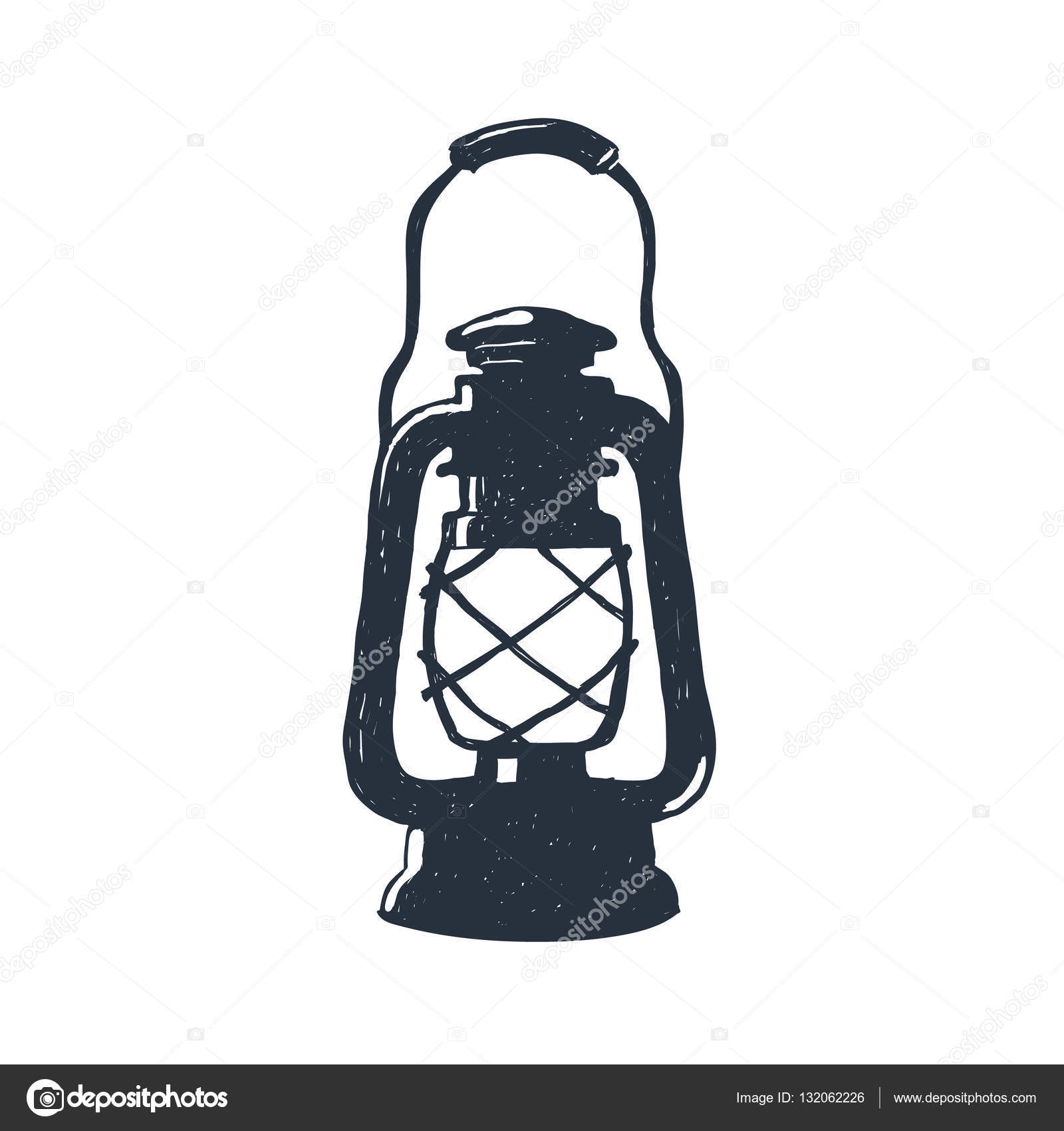 Hand-drawn vintage kerosene lamp. Sketch oil lantern. Vector ... for Oil Lamp Sketch  76uhy