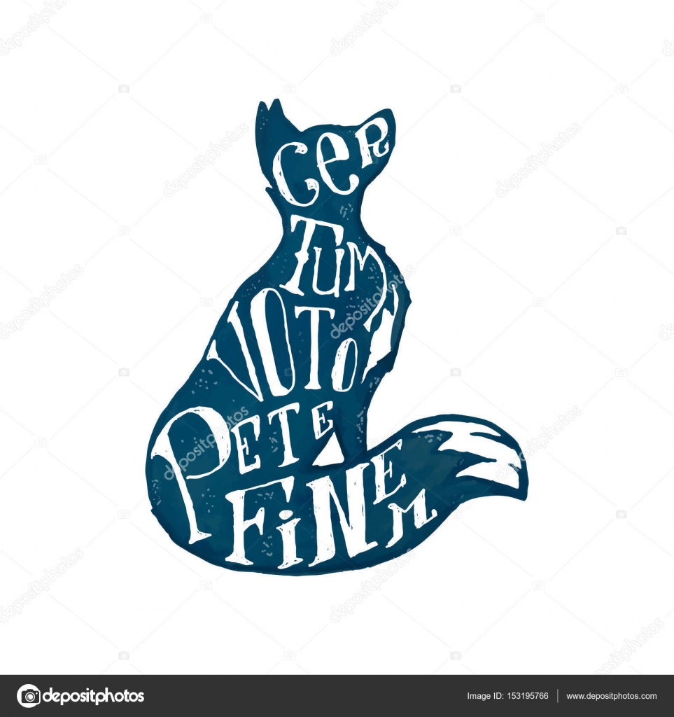 Fox Silhouette Shape And Typography Elements