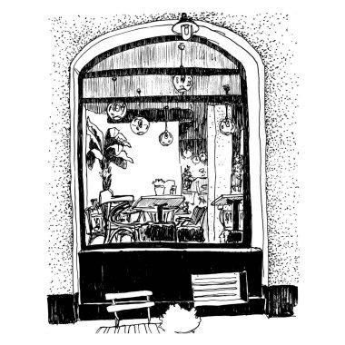Sketch of coffee shop in Belgrade