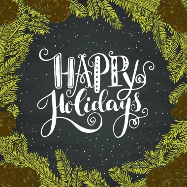 Happy holidays hand lettering