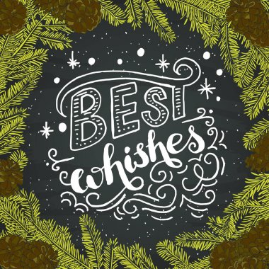 Best wishes lettering and decorative elements