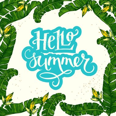 inscription Hello Summer with palm leaves