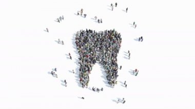 people shape of a sign of tooth