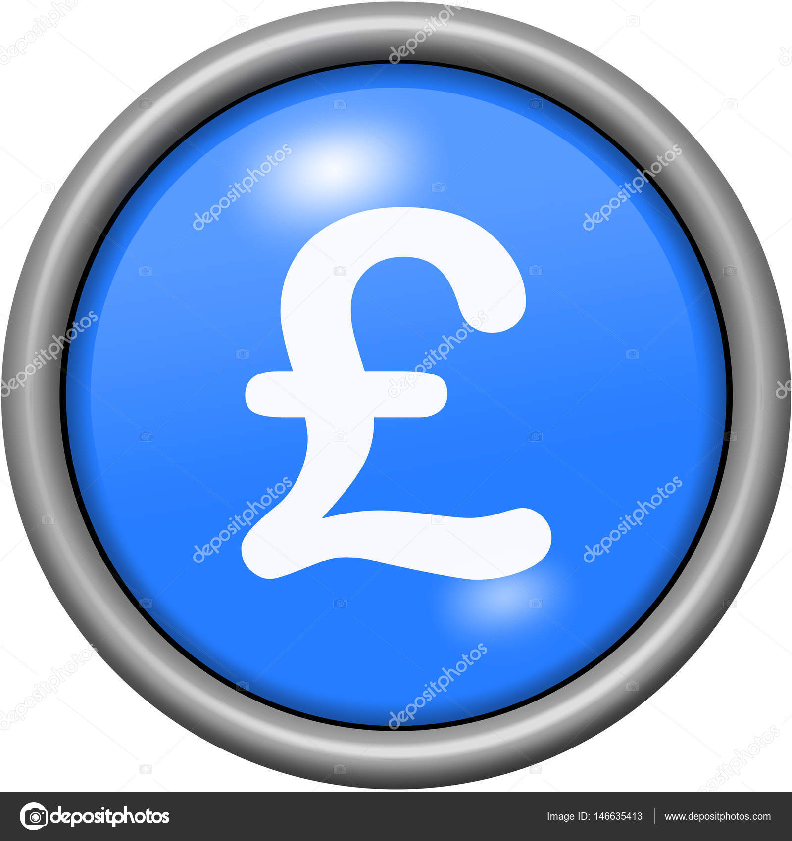 Blue Design Livre Sterling In Round 3d Button Stock Photo