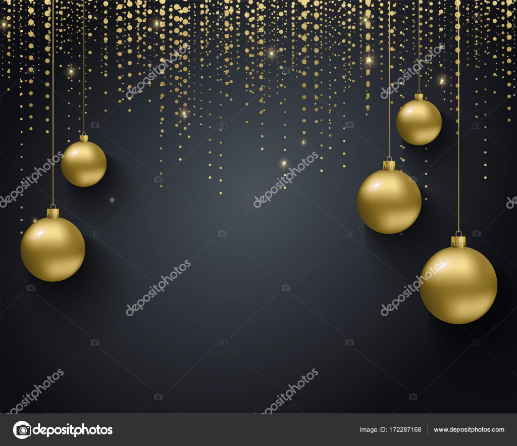 greeting card invitation with happy new year 2018 and christmas metallic gold christmas balls decoration shimmering shiny confetti on a black