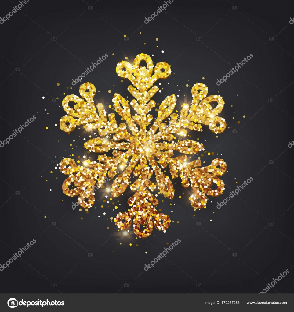 glitter covered gold snowflake with on transparent background greeting card invitation happy new year 2018 and christmas vector vector by katrinaku