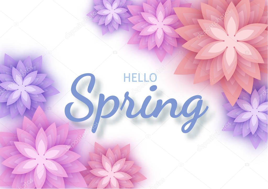 Hello Spring, floral greeting card, paper flowers. Banner with r