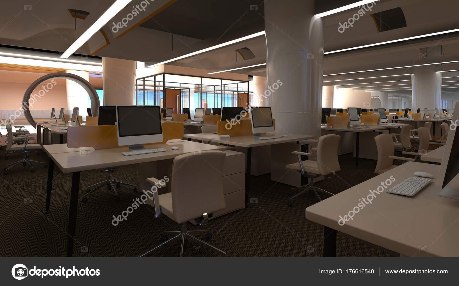 Dise o interior oficinas modernas ilustraci n 3d el for Oficinas enterprise