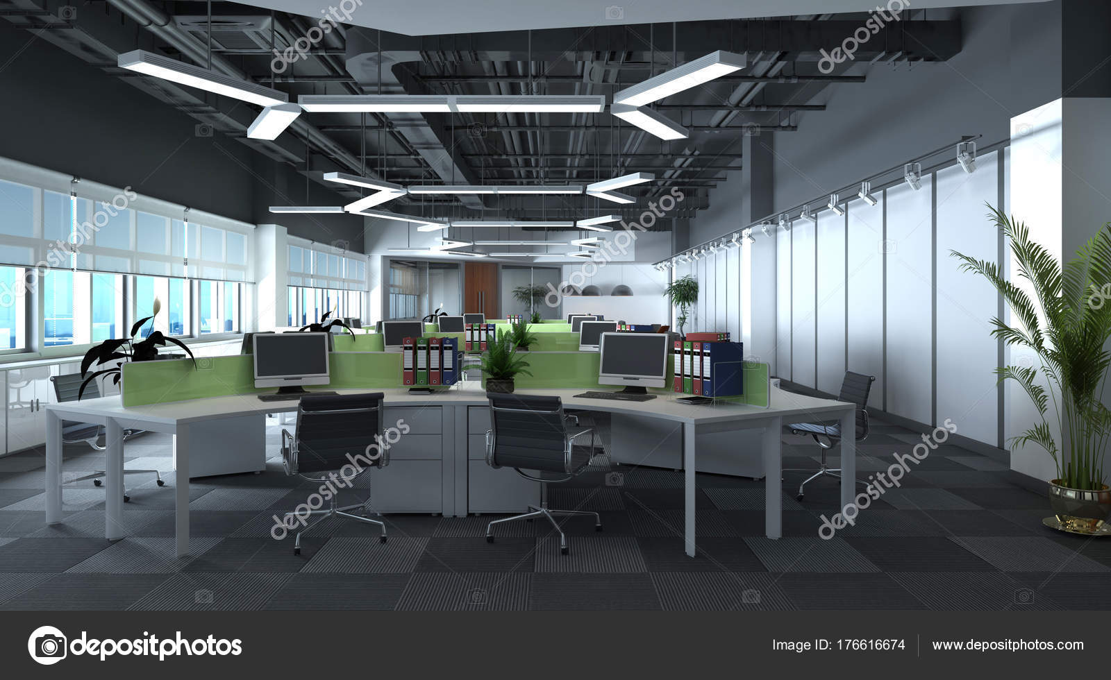 3D Illustration the modern office interior design — Stock ...