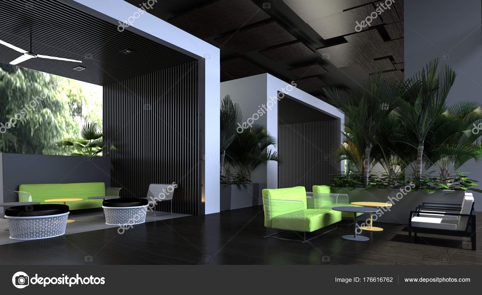 3D Illustration der Innenarchitektur des modernen Büros — Stockfoto ...