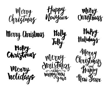 Holidays Lettering Design Set