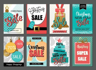 Set of sale holiday banner templates