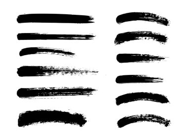 Set of black paint, ink brush strokes, brushes, lines. Dirty artistic design elements