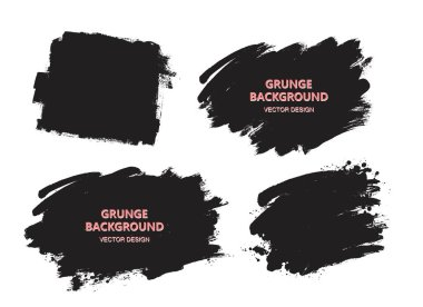 Dirty artistic design elements, boxes, frames for text.Set of black paint, ink brush strokes, brushes, lines. clip art vector