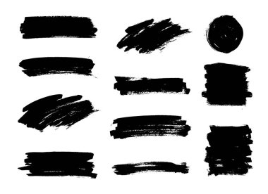 Set of black paint, ink brush strokes, brushes, lines. Dirty artistic design elements, boxes, frames, backgrounds.