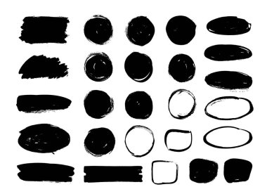 Set of black paint, ink brush strokes, circles, ovals. Dirty artistic design elements, boxes, frames, backgrounds.