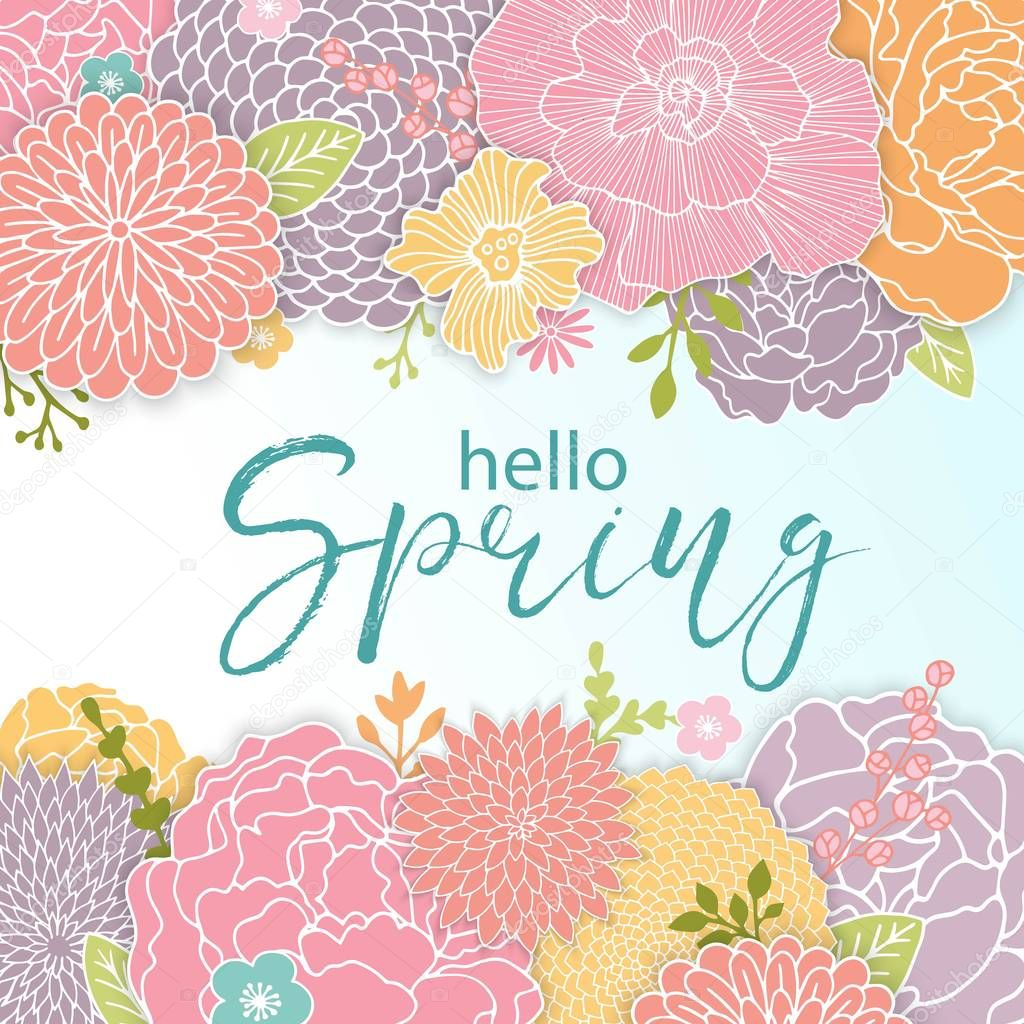 Spring Background Design with Colorful Flowers. Bright Background for Spring Seasonal Wallpaper.