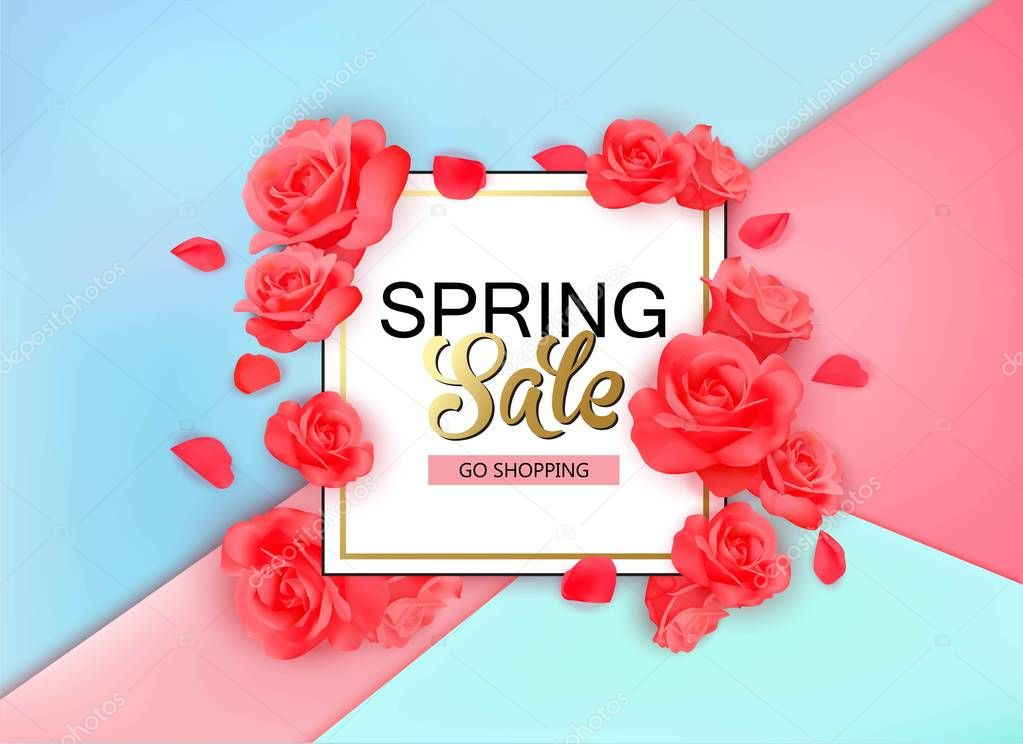 Spring sale background with flowers. Season discount banner design with red roses and petals.