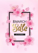8 march sale spring background