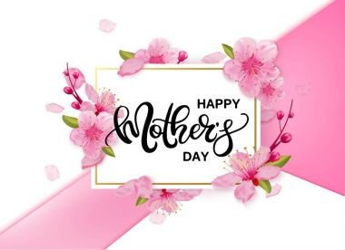Happy Mothers Day vector banner with cherry blossoms flowers. Universal background with place for text. clip art vector