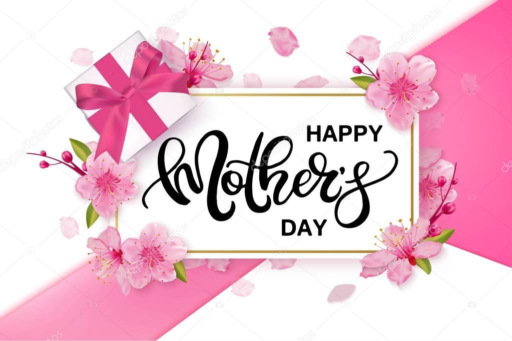 Happy Mothers Day vector banner with cherry blossoms flowers.