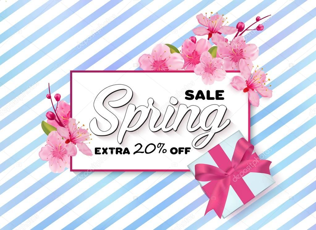 Spring sale colorful banner with sakura flower.
