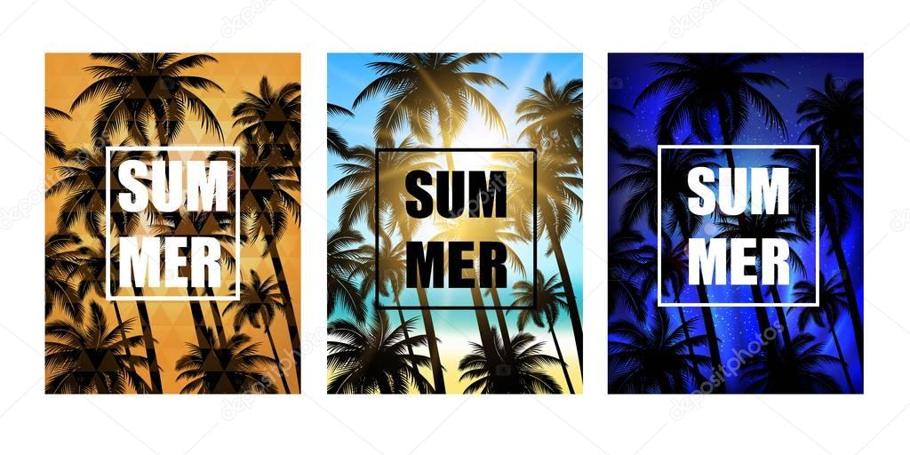 Set of summer tropical backgrounds with palms, sky and beach. Vector design for T -shirt.