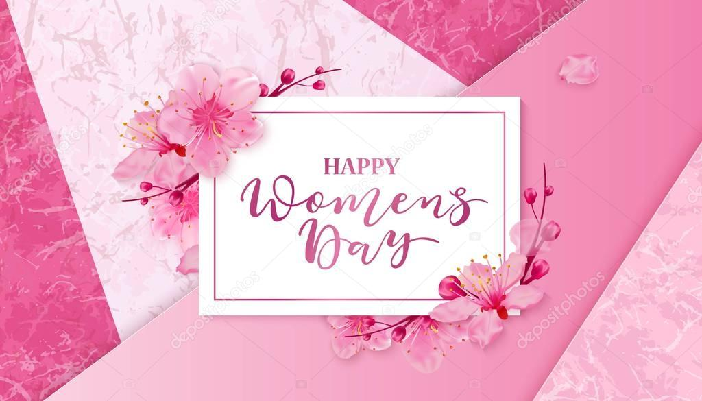 Happy women s day. 8 March with flowers